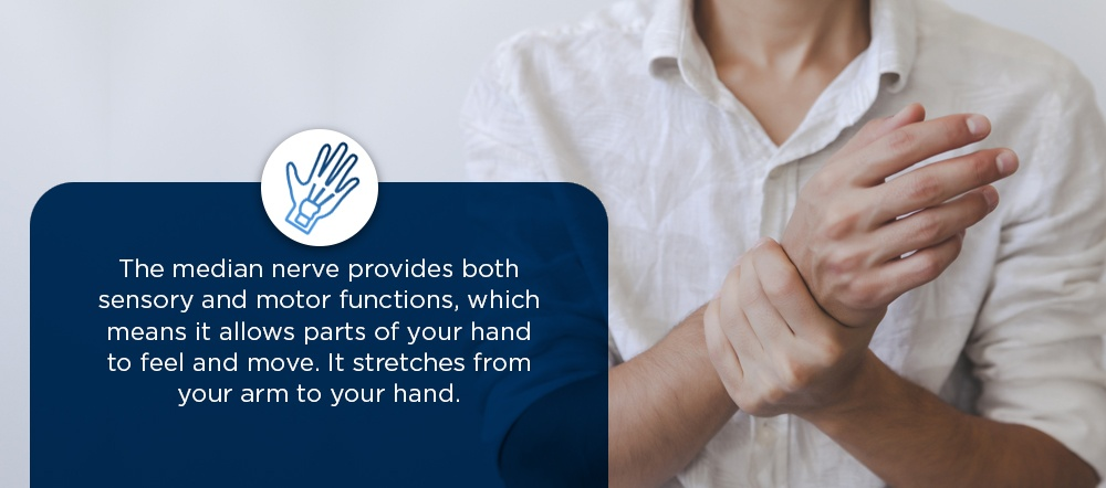 the median nerve provides both sensory and motor functions, which means it allows parts of your hand to feel and move. It stretches from your arm to your hand.