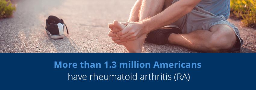 man experiencing rheumatoid arthritis in foot