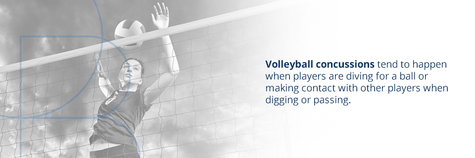 volleyball concussions tend to happen when players are diving for the ball or making contact with other players when digging or passing