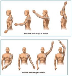 Shoulder joint range of motion diagram