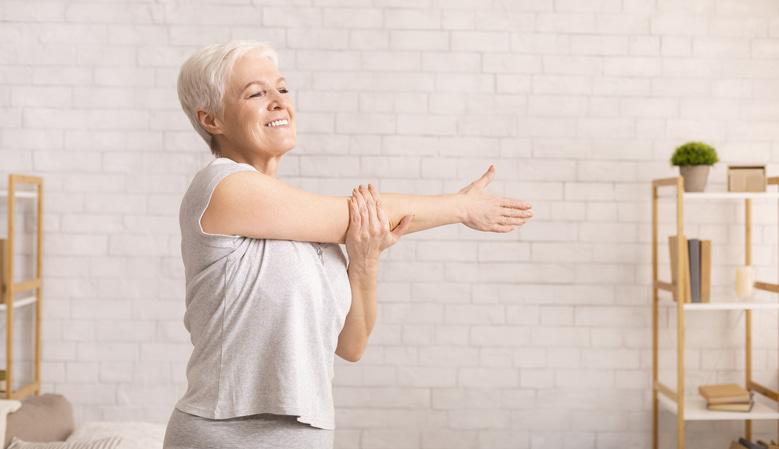 elderly woman stretching