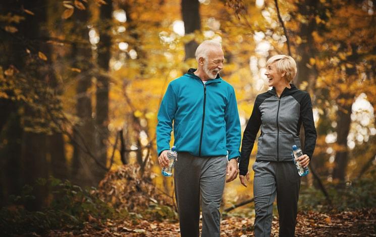 elderly couple exercising